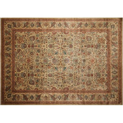 Peshawar Aru Hand Knotted Wool Light Gray Area Rug Rug Size: Rectangle 102 x 141