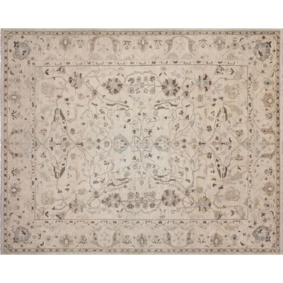 One-of-a-Kind Leann Hand-Knotted Rectangle Ivory Wool Indoor Area Rug
