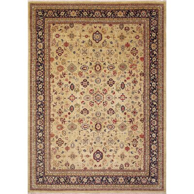 One-of-a-Kind Leann Hand-Knotted Gold Wool Indoor Area Rug
