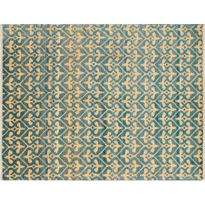 One-of-a-Kind Hand-Knotted Haleigh Hand-Knotted Light Blue Area Rug