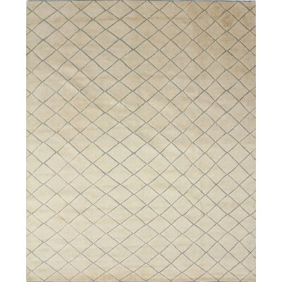 One-of-a-Kind Moroccan Indo Jazman Hand-Knotted Ivory Area Rug