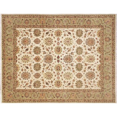 Leann Hand-Knotted Ivory/Light Green Area Rug
