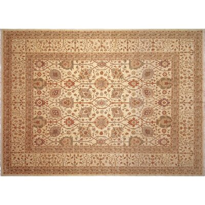 One-of-a-Kind Leann Hand-Knotted Rectangle Ivory Premium Wool Indoor Area Rug