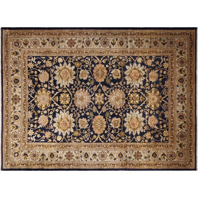 Leann Hand-Knotted Rectangle Blue Wool Area Rug