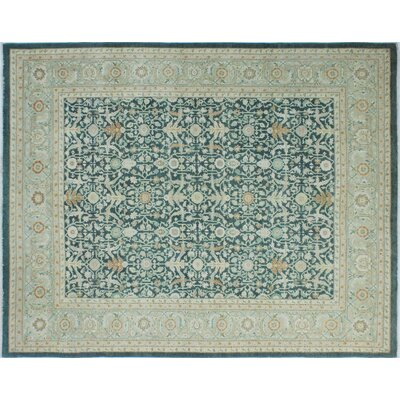 Leann Hand-Knotted Green Area Rug