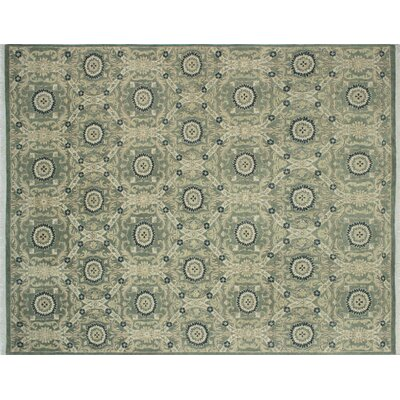 Lauterbach Hand-Knotted Light Green Wool Area Rug