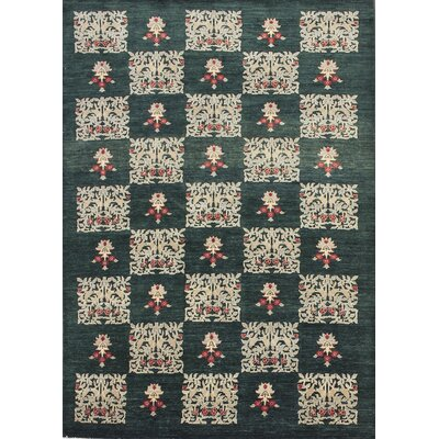 Lauterbach Hand-Knotted Green Wool Area Rug