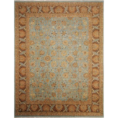 One-of-a-Kind Leann Hand-Knotted Rectangle Light Blue Area Rug