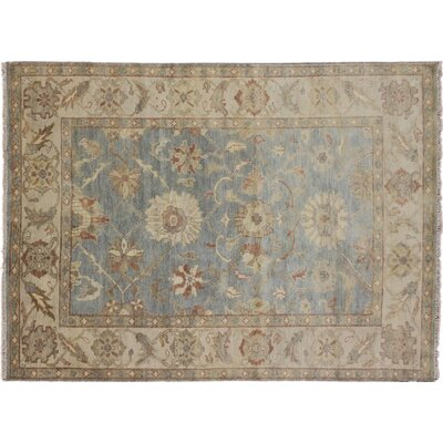 Mahal Indo Araily Hand-Knotted Blue Area Rug