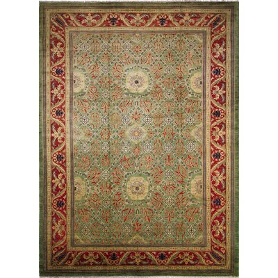 Arthen Hand-Knotted Rectangle Light Green Area Rug