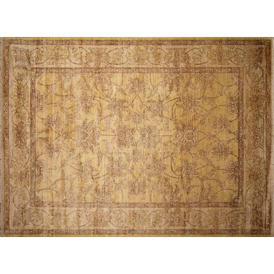 Leann Hand-Knotted Rectangle Gold Area Rug