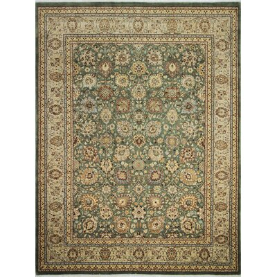 Arthen Hand-Knotted Green Premium Wool Area Rug
