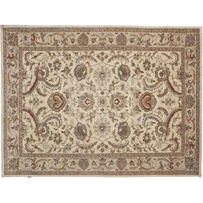 One-of-a-Kind Leann Hand Knotted Wool Oriental Rectangle Ivory Area Rug