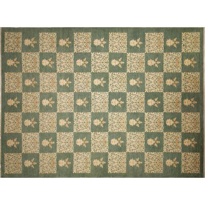 One-of-a-Kind Arthen Hand-Knotted Green Area Rug