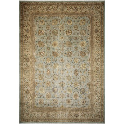 Arthen Hand-Knotted Rectangle Light Blue Fringe Area Rug