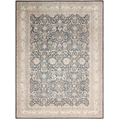 Leann Hand-Knotted Allover Oriental Rectangle Gray Area Rug