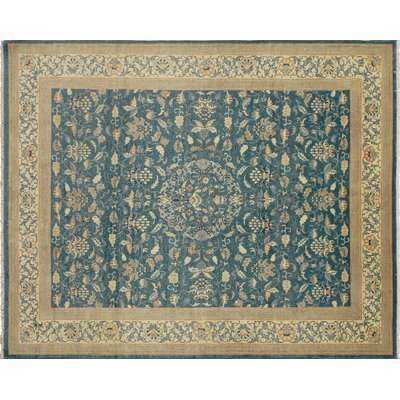 One-of-a-Kind Leann Hand-Knotted Teal Blue Area Rug