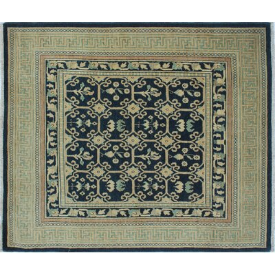 Aidric Hand-Knotted Rectangle Blue Area Rug