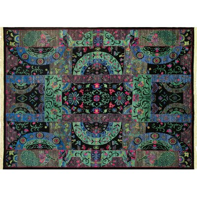 One-of-a-Kind Aidric Hand-Knotted Rectangle Black Area Rug