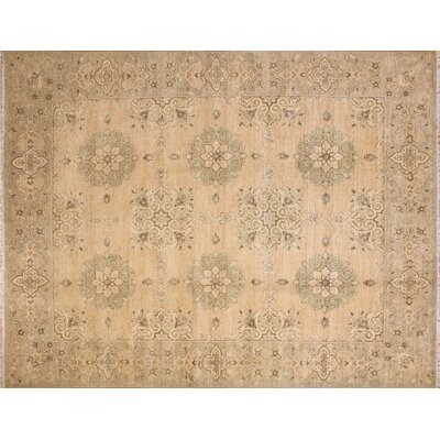 One-of-a-Kind Leann Hand-Knotted Beige Wool Area Rug