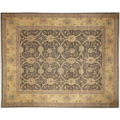 One-of-a-Kind Leann Hand-Knotted Dark Green Area Rug