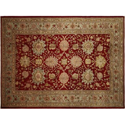 One-of-a-Kind Leann Hand-Knotted Rectangle Red Wool Indoor Area Rug