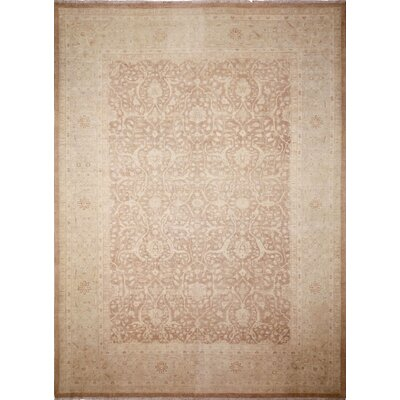 One-of-a-Kind Leann Hand-Knotted Rectangle Light Brown Wool Indoor Area Rug