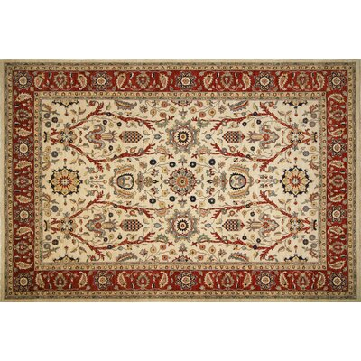 One-of-a-Kind Leann Hand-Knotted Oriental Ivory/Red Area Rug