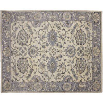 Leann Hand-Knotted Rectangle Ivory Area Rug