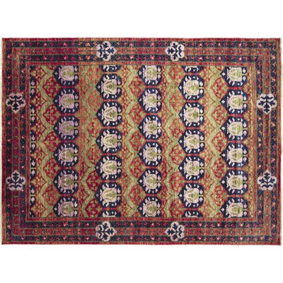 Bellview Oriental Hand-Knotted Rectangle Wool Rust Area Rug