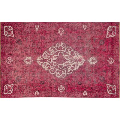 Distressed Brittane Hand-Knotted Pink Area Rug