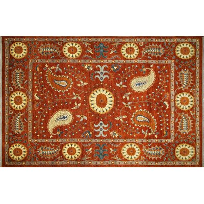 Leann Hand-Knotted Rust/Gold Area Rug