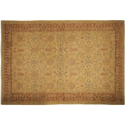 Leann Hand-Knotted Gold Wool Area Rug