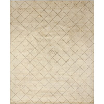 One-of-a-Kind Moroccan Indo Shynar Hand-Knotted Ivory Area Rug