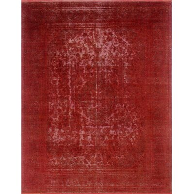 Distressed Overdyed Amer Hand-Knotted Red Area Rug