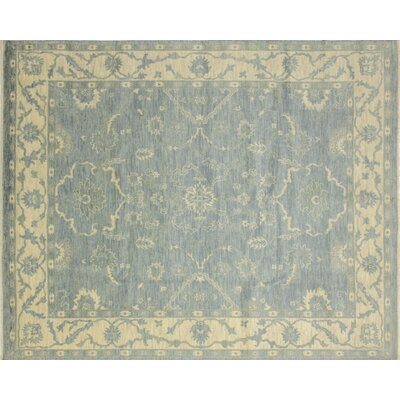 Oushak Fine Rehan Hand-Knotted Light Blue Area Rug