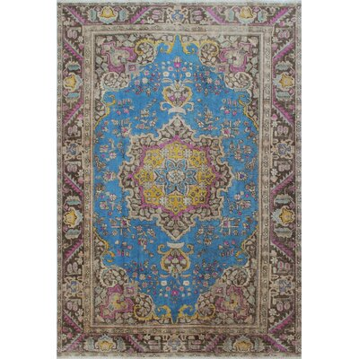 Distressed Overdyed Areeb Hand-Knotted Blue Area Rug