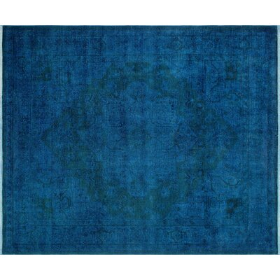 Distressed Ormazd Hand-Knotted Blue Area Rug