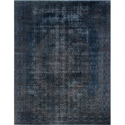 Distressed Overdyed Bijar Hand-Knotted Gray Area Rug