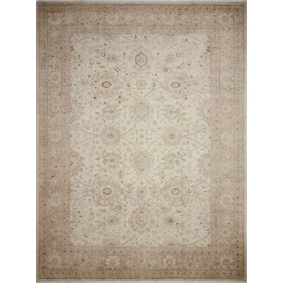 Leann Faded Hand-Knotted Rectangle Ivory Wool Indoor Area Rug