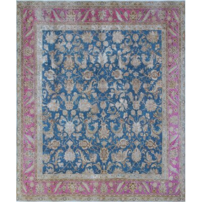 Distressed Overdyed Aybak Hand-Knotted Blue Area Rug