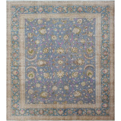 One-of-a-Kind Distressed Overdyed Qadeer Hand-Knotted Gray Area Rug