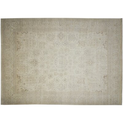 Leann Faded Hand-Knotted Rectangle Ivory Indoor Area Rug