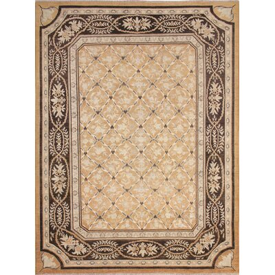 Leann Faded Hand-Knotted Rectangle Rust Area Rug