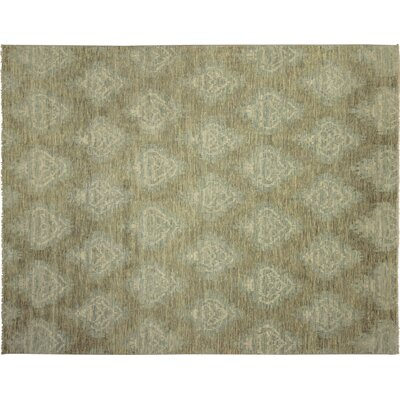 One-of-a-Kind Bellview Geometric Hand-Knotted Green Area Rug