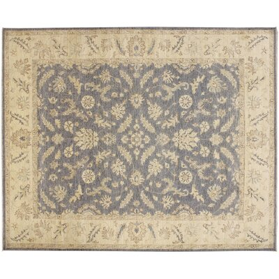 One-of-a-Kind Peshawar Faded Akmaral Hand-Knotted Gray Area Rug