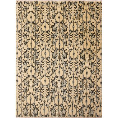 One-of-a-Kind Ikat Mehdi Hand-Knotted Beige Area Rug