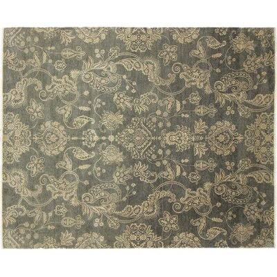 One-of-a-Kind Indo Modern Florid Hand-Knotted Green Area Rug