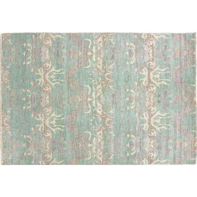 Ikat Nataly Hand-Knotted Green Area Rug
