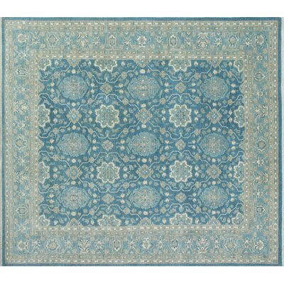One-of-a-Kind Chobi Fine Hatima Hand-Knotted Light Blue Area Rug